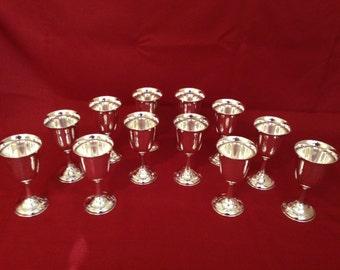 12 Sterling Silver Goblets (950 Grade)