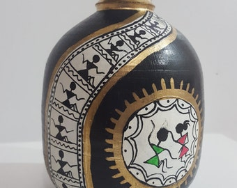 Beautiful Clay Vase Pot with Indian Warli painting Wheel thrown pottery