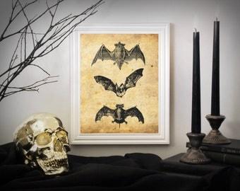 Vintage Halloween Bats, Halloween Decor, Halloween Art, Halloween Printable Decor, Halloween Poster, Vintage Halloween Art Decor