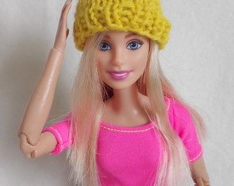 Yellow Barbie hat, knitted Barbie doll beanie, Barbie clothing