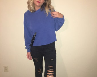 Distressed Vintage Cropped Lace up Crewneck
