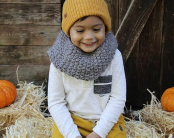 Charcoal Toddler Cowl | Knitted Cowl | Kids Cowl | Mommy and Me | Boy and Girl Cowl | Chunky Knit Cowl, Charcoal Gray