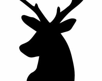 Deer Head Vinyl Decals - 6 inch
