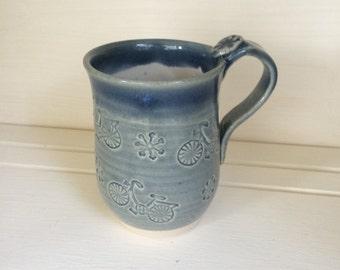 Bicycle Clay Mug, Hand Made Ceramic Mug, Stoneware, Pottery Mug, Bike Decorations, Blue Glaze.