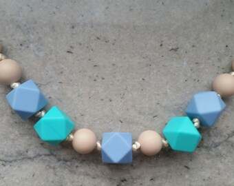 Airy Blue, Aqua Blue, Warm Taupe Teething Necklace