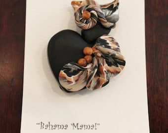 Handcrafted Polymer Clay Brooch Fashion Pin Heart Shaped Lady by Suzie Oh! One of A Kind