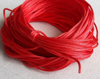 """50"""" Red Satin Cord, Handmade Necklace, Red Necklace, Red Jewelry, Craft Necklace, Handmade Jewelry"""