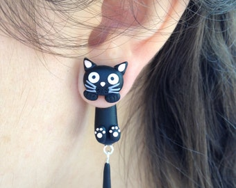 Cat studs 3d earrings Cat earrings Funny cats Black cat Cat jewelry Ear jackets Cat lover gift Animal jewelry Black jewelry Unique gifts