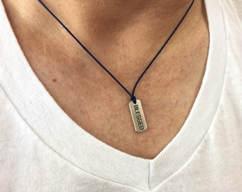 Blessed Necklace for men Inspirational Jewelry Blessed Message Necklace Thankful necklace Grateful Message Mens Spiritual Jewelry