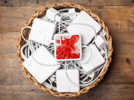 iPhone and Apple Laptop Charger Labels - Daniela Wicki WOW Design - Eye-catching and Artistic tech accessory gift in brilliant red and white