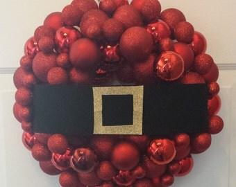 Santa belt wreath/christmas/ ornaments wreath/front door/winter wreath/door wreath