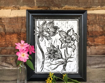 Pasque Flower - Block Print