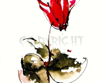 Red Cyclamen Greeting Card