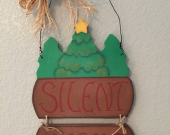 Chrismas, Silent Night, Wall Hanging, Holiday Decor, Tole Painting, Decorative Painting
