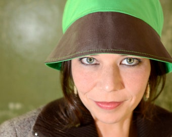 Green Brown Cloche hat, cotton, single piece, 61.5 cm, by #7streich