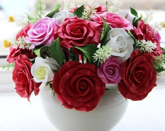 Floral Home Décor, Handmade flowers, Table Decoration, Deco Clay, Red Roses, Home Décor, FlowersForLife, Clay flowers, Gifts