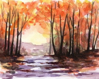 6x8 ORIGINAL Landscape Watercolor Autumn Fall Tree Small Painting Tree Art Orange Forest Home Decor for Her Him Wall Art