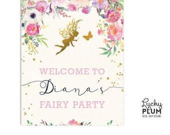 Fairy Welcome Sign / Garden Welcome Sign / Flower Welcome Sign / Pixie Elves Welcome Sign / Butterfly Welcome Sign / Woodland Welcome FY01