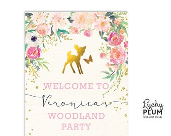 Deer Welcome Sign / Woodland Welcome Sign / Bambi Welcome Sign / Flower Welcome Sign / Butterfly Welcome Sign / Garden Welcome Sign DR01