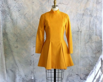 vintage cheerleader dress, mustard yellow wool ice skater dress . 50s 1960s mini dress with full circle skirt . APPROX medium large women