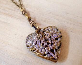 Vintage Filigree Lilac Heart on Fob