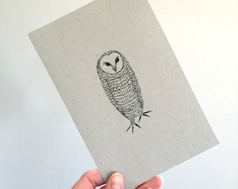 Owl Illustration Original Drawing Art No. 57 - markers on toned paper neutral colors - affordable art OOAK grey gray