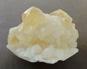 Healing Crystal Yellow Calcite Quartz on Stilbite Mineral Specimen Crystal Cluster High Vibration Stone