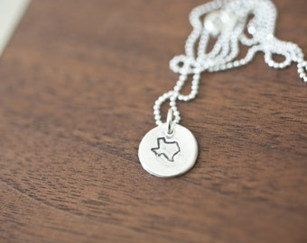 Tiny Texas Necklace Silver Texas Necklace State Charm State Necklace TX Small State Charm Texas Charm Texas Necklace