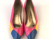 Vintage Bright Pink Shoes with Royal Blue and Sunshine Yellow - Low Heel Wedge - Colorful & Comfortable - Fun Pop of Color - Size 7.5 - 80s