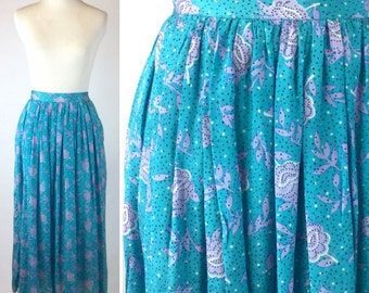 Turquoise Floral Skirt, Lavender Flowers and Black Dots Print, Lightweight Aqua Blue Silk Skirt with Pockets, Small Medium, Vintage 70s 80s