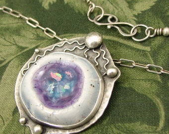"Worry Stone ""Blue Zygote"" Sterling Pendant with Ceramic cabochon - OOAK"