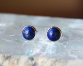 Lapis Lazuli Stud Earrings, Sterling Silver Lapis Studs, Classic Earrings, Gemstone Posts, Handmade Jewelry, 6mm Size Dots