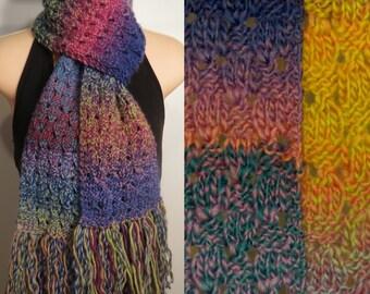 Scarf Hand Knit Wool Blue Pinata Lace Chunky