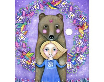 Girl and bear wall art print A3 hummingbird art hummingbirds girls room art nursery art whimsical folk painting forest woodland animals