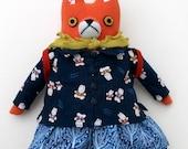 Winter School Girl Fox Doll wool plush softie