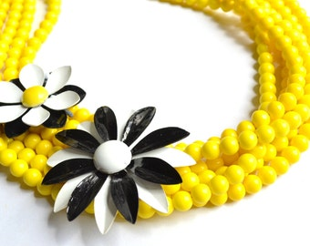 The Carrie- Yellow Glass and Brooch Statement Necklace