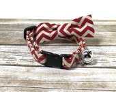 Red and Cream Chevron Cat Collar with Matching Bow/Bow Tie