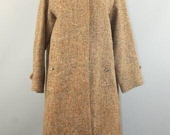 Vtg Women Burberry Irish Tweed 100% wool button front winter coat sz 6
