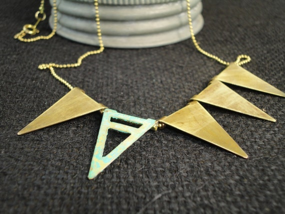 Triangle Banner Pennant Necklace-Verdigris Turquoise-Brass Metal-Geometric-Patina-Boho