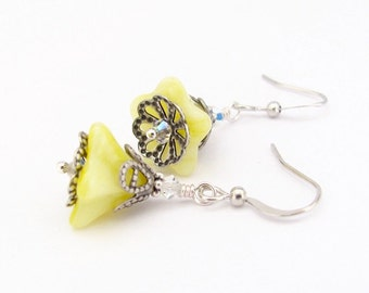 Yellow Earrings, Flower Bridesmaid, Spring Summer Easter Jewelry, Butter Yellow, Boho Bohemian Woodland, Swarovski Crystal, Silver Plated
