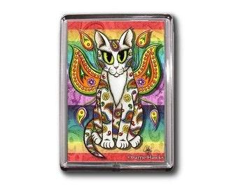 Rainbow Fairy Cat Magnet Paisley Fantasy Cat Art Framed Magnet Gifts For Cat Lovers