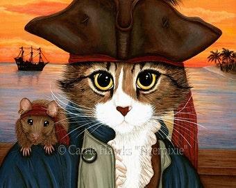 Pirate Cat Rat Art Sunset Captain Leo Fantasy Cat Art ACEO / ATC Mini Print Cat Lover Gift