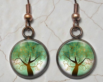 Copper and Green Tree of Life Drop Earrings - Matching Pendant & Chain Available