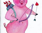 Cupig Valentine Card - funny Pig Cupid, humorous flying pig art, funny valentine's greeting card