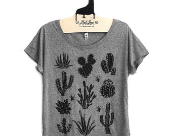 2XL-  Tri-Blend Gray Dolman Tee with Cactus Screen Print