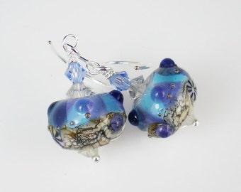 Purple Blue Silvered Ivory Lampwork Earrings Jewelry