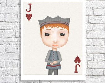 Jack of Hearts Playing Card Illustration Artwork For Boys Room Ideas Baby Boy Nursery Decor Little Boy Print Game Room Wall Art Named Jack