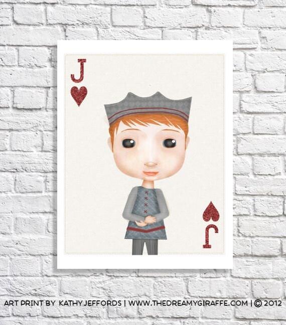 Jack of Hearts Playing Card Illustration Artwork For Boys Room Ideas Baby Boy Nursery Decor Little Boy Print Game Room Wall Art Named Jack