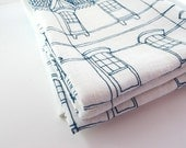 Linen Tea Towel  Blue Victorian House