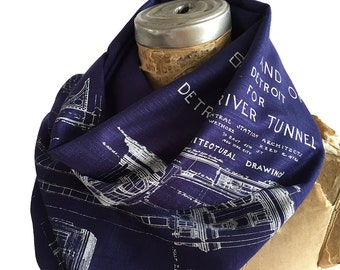 Blueprint Scarf: Detroit Train Station. Michigan Central Station, hand printed linen-weave pashmina scarf. White on navy blue & more!